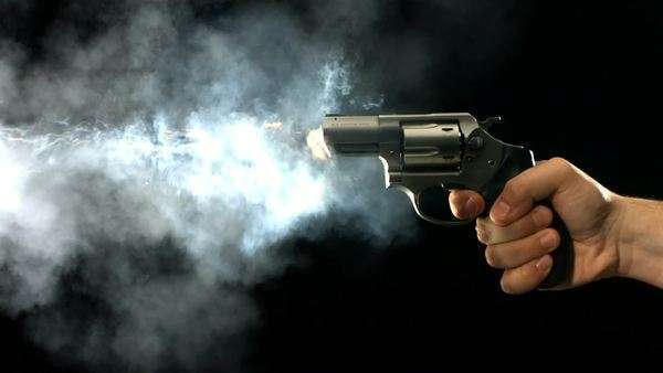 Revolver shooting and smoking, slow motion Royalty-free stock video