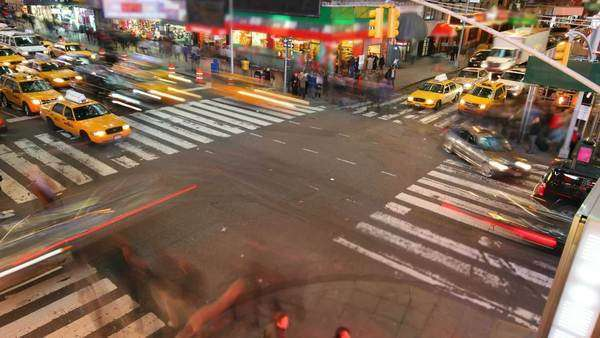 Busy intersection at Times Square, timelapse Royalty-free stock video