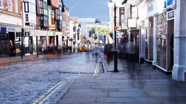 Busy Timelapse street scene with people shopping Royalty-free stock video