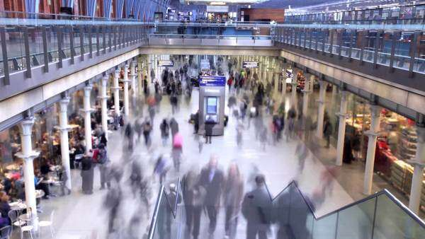 People rushing at a busy station, timelapse Royalty-free stock video