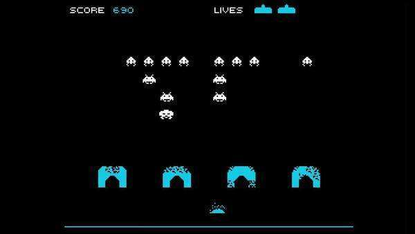 motion graphics representation of the classic space invaders computer game Royalty-free stock video