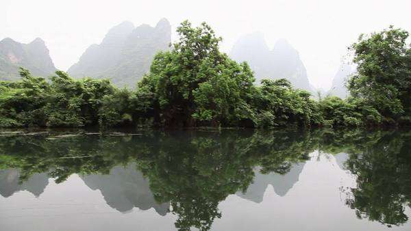 China, Yangzhou, yulong river and landscape viewed from raft Royalty-free stock video