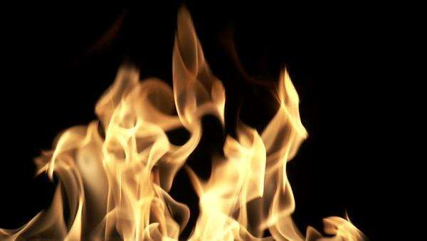 Medium flames flickering with a black background. Royalty-free stock video