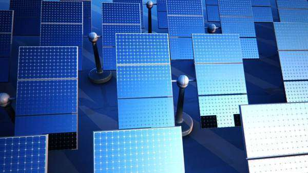Loopable animation of sunny solar panels in a solar power station Royalty-free stock video