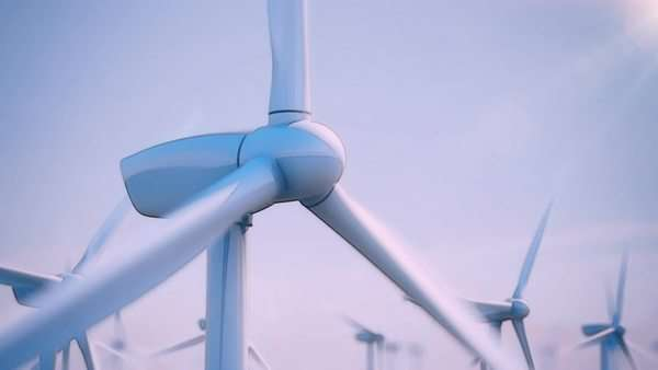 Seamless looping animation of wind turbines spinning Royalty-free stock video