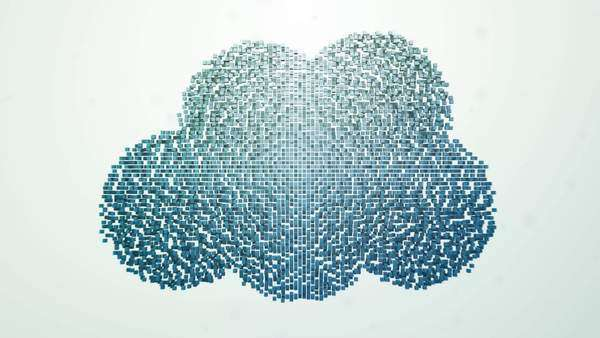 Blue pixels form a Cloud connected to computers Royalty-free stock video