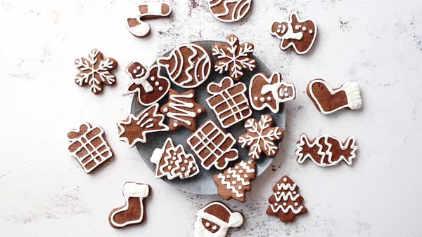 Fresh And Tasty Christmas Gingerbread Cookies Placed On White Rusty Table Different Shapes Santa Claus Snowflake Tree Gift Snowman Stock