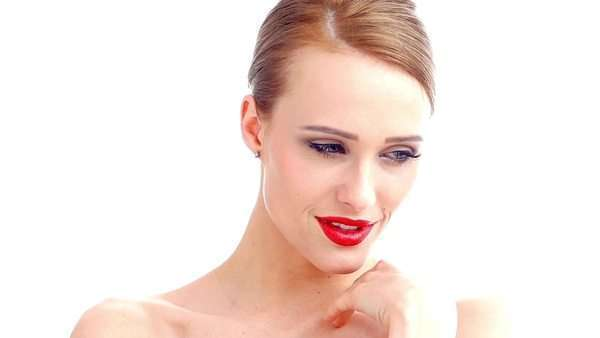 8c7c6d7ed5a Blond sexy woman with red lipstick in slow motion stock footage