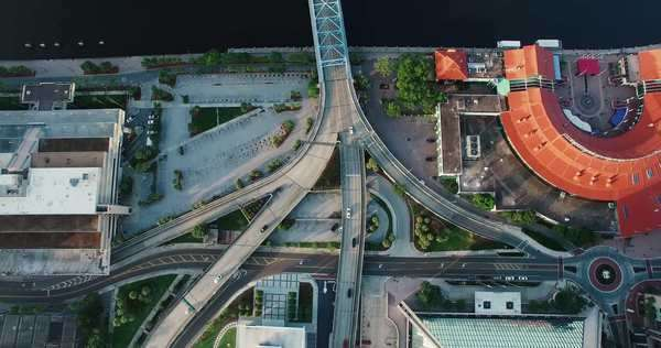 Aerial birds eye view of cars moving through downtown Royalty-free stock video