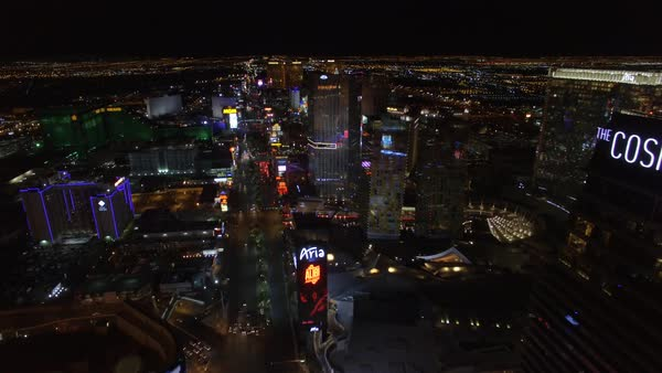 Drone shot of Las Vegas Strip at night Royalty-free stock video