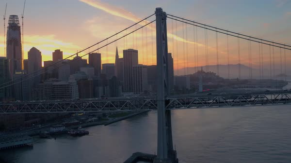 Aerial shot of San Francisco-Oakland Bay Bridge at sunset Royalty-free stock video