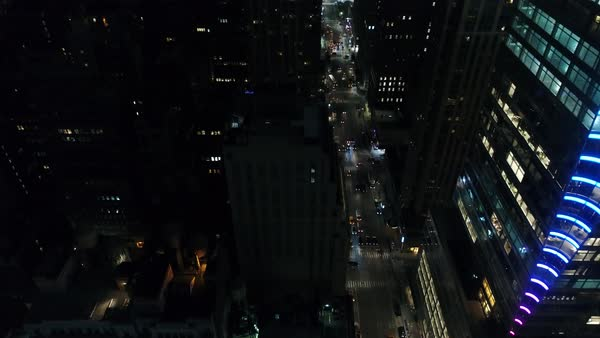 Wide aerial shot over Manhattan at night Royalty-free stock video