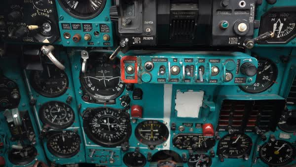 LAS VEGAS, NEVADA-APRIL 2016:Tilt up-Cockpit Soviet Mig 27 Flogger viewing  instrument panel  Mikoyan MiG-27 Flogger is based on the Mikoyan MiG-23