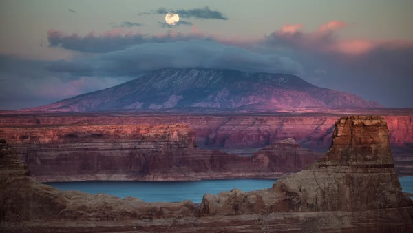 Timelapse of the moon rising over Navajo mountain at sunset from Alstrom Point, Lake Powell. Royalty-free stock video