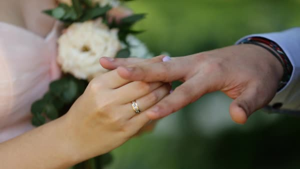Bride Putting Wedding Ring On Grooms Finger Young Couple At Wedding Ceremony Wedding Rings Exchange Stock Footage