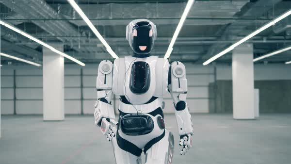 modern robot cyborg android walks in a room concept of future rh dissolve com