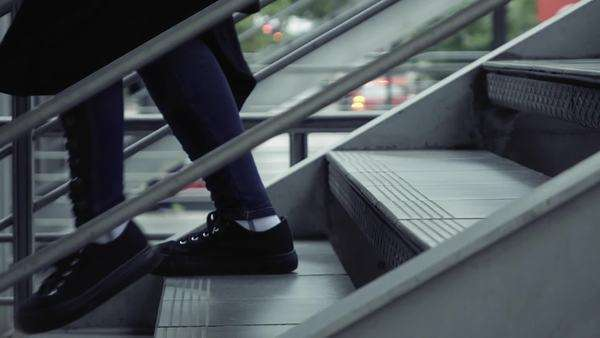 Slow motion, feet of people on train station platform Royalty-free stock video