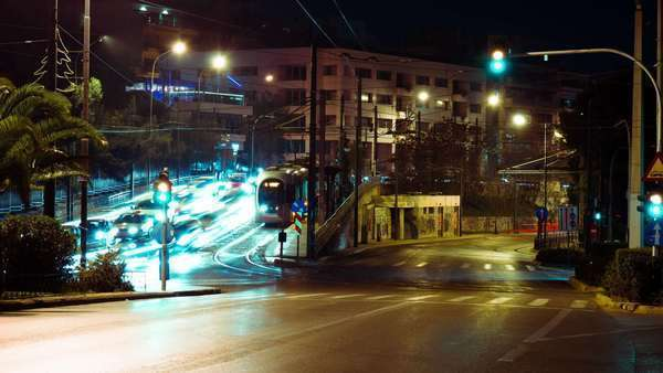 Athens city night street traffic intersection light streaks timelapse Royalty-free stock video