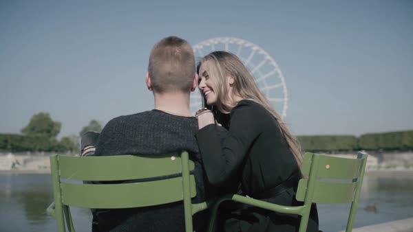 Hand-held shot of a young couple embracing in Paris Royalty-free stock video
