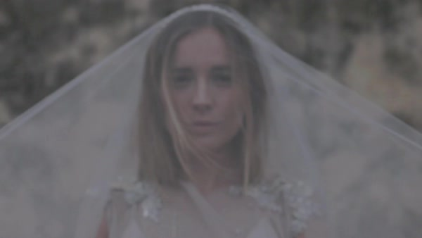 Close-up shot of a bride wearing a veil Royalty-free stock video