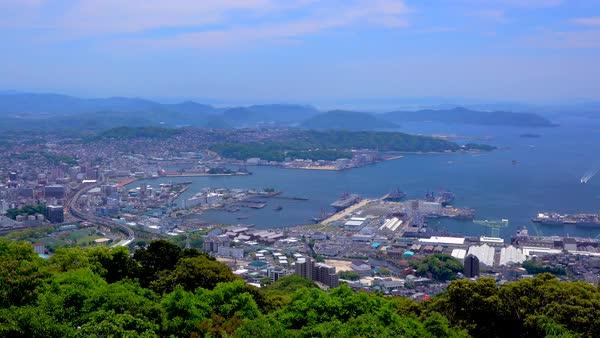 Above view of Sasebo port, Nagasaki Prefecture, Japan stock footage
