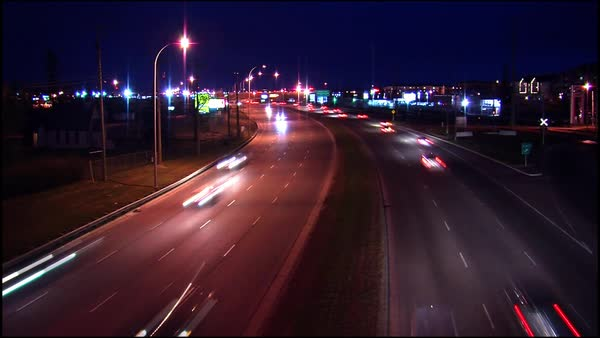 Timelapse of traffic at night on a busy road Royalty-free stock video