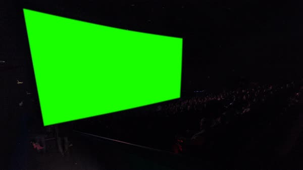 Cinema Movie Theater Auditorium With Viewers Red Chairs And Green Projection Screen Timelapse People Filling Empty Hall And Sitting Down To Their Places Very Fast Stock Video Footage Dissolve