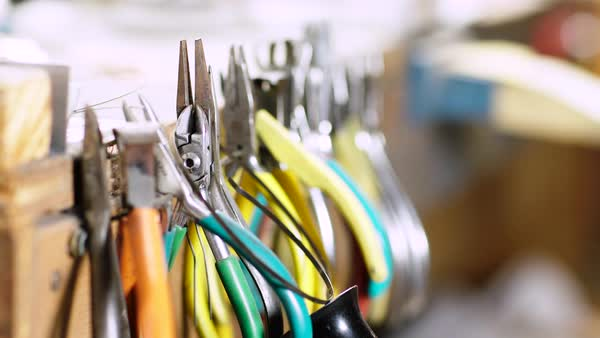 Close up shot of pliers in a workshop Royalty-free stock video
