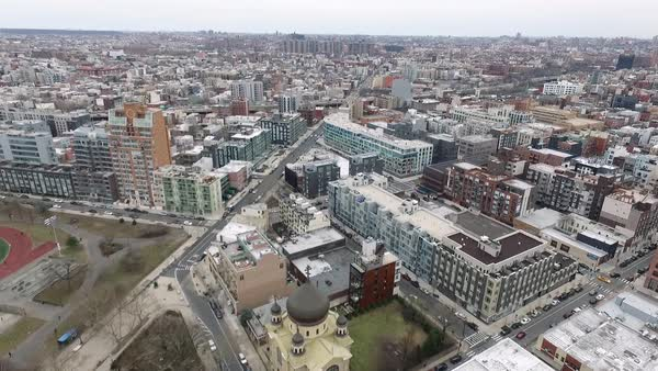 Aerial shot of Brooklyn in winter, NYC, USA Royalty-free stock video