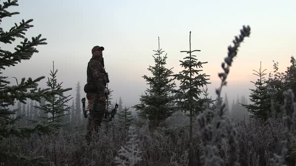 Wide shot of a hunter standing in a forest Royalty-free stock video