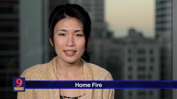 Montage of a news report about a home fire Rights-managed stock video