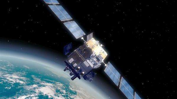 Tracking shot of a satellite in outer space Rights-managed stock video