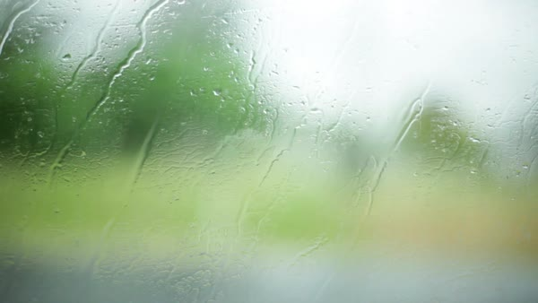 Raindrops on window of moving car Royalty-free stock video