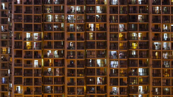 Timelapse Of Apartment Windows At Dusk To Night Stock Video Footage Dissolve
