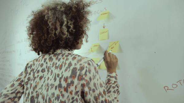 Young woman writing on adhesive note in office Royalty-free stock video