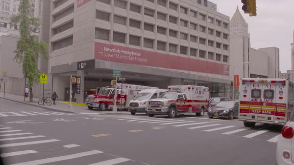 The entrance to the New York Presbyterian Lower Manhattan Hospital  stock  footage