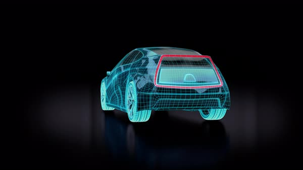 Animation of blue futuristic electric car blueprint  Concept car design   stock footage