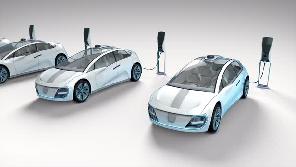 Futuristic Electric Self Driving Cars Charging In Stations White Background Stock Video Footage Dissolve