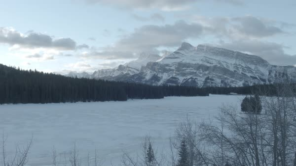 Wide-angle shot of snow-covered mountains Royalty-free stock video