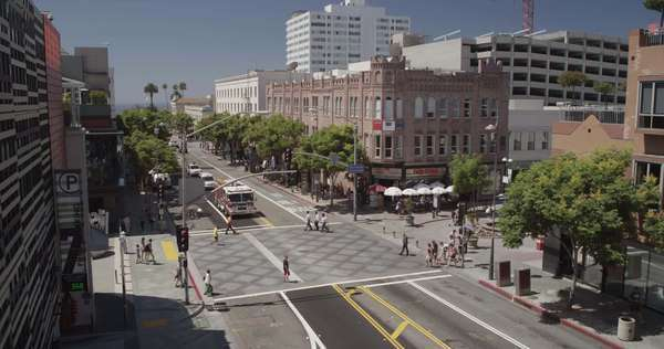 Wide-angle shot of an intersection in Santa Monica Royalty-free stock video