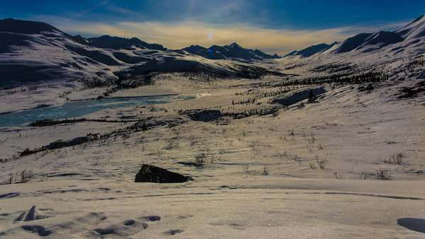 Timelapse of sun moving over Tombstone Territorial park, Yukon, Canada Royalty-free stock video