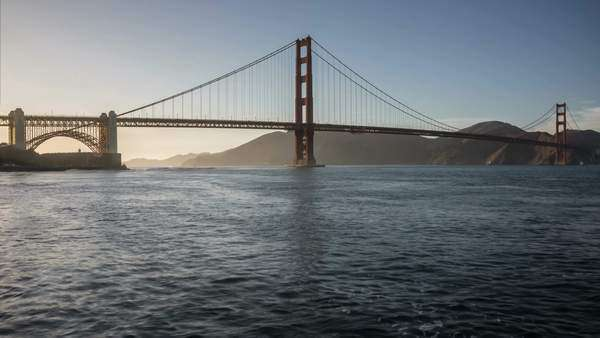 Golden Gate Bridge timelapse with fast moving boats, water, and clouds Royalty-free stock video