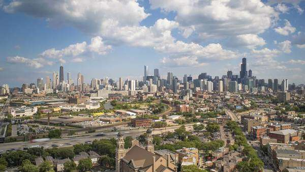 USA, Illinois, Chicago, Elevated view over the City skyline Royalty-free stock video