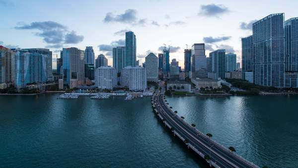 View from Brickell Key, a small island covered in apartment towers, towards the Miami skyline, Florida - timelapse Royalty-free stock video
