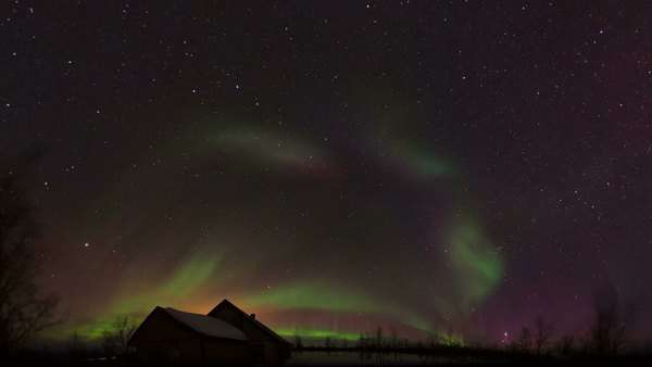 Timelapse footage of a spectacular display of the aurora borealis, or northern lights, over Lapland in northern Sweden. Rights-managed stock video