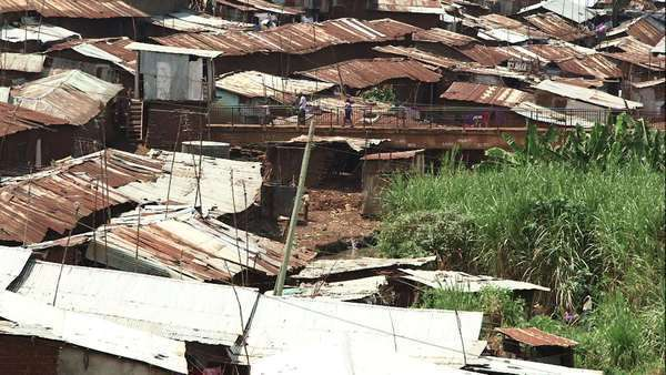 High angle shot above an informal settlement in Kibera, Nairobi Royalty-free stock video