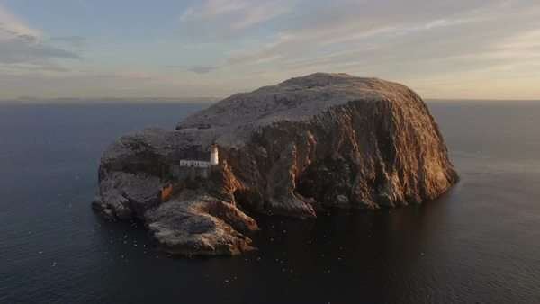 Cinematic aerial shot of Bass Rock off the coast of East Lothian, Scotland Royalty-free stock video