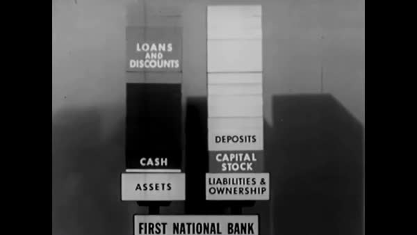 An animation illustrates bonds, stocks and securities and the United States  Capitol, the Federal Reserve Bank and various industries are shown as well