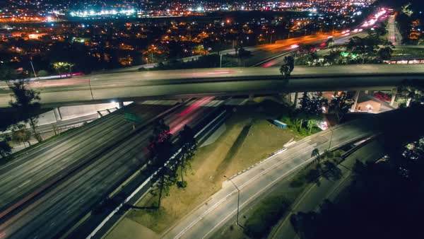 Hyperlapse of traffic on an interchange in Los Angeles Royalty-free stock video