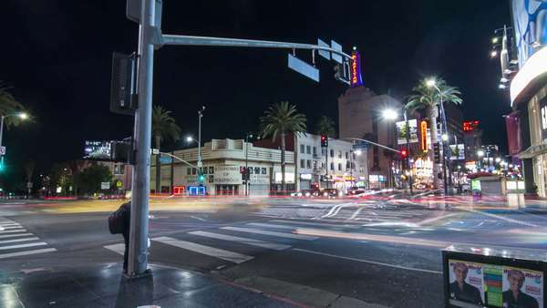 HOLLYWOOD, LOS ANGELES, CALIFORNIA, USA - 08 JANUARY 2015, Hyperlapse (timelapse in motion) of intersection of Hollywood Boulevard and Highland Avenue. Royalty-free stock video